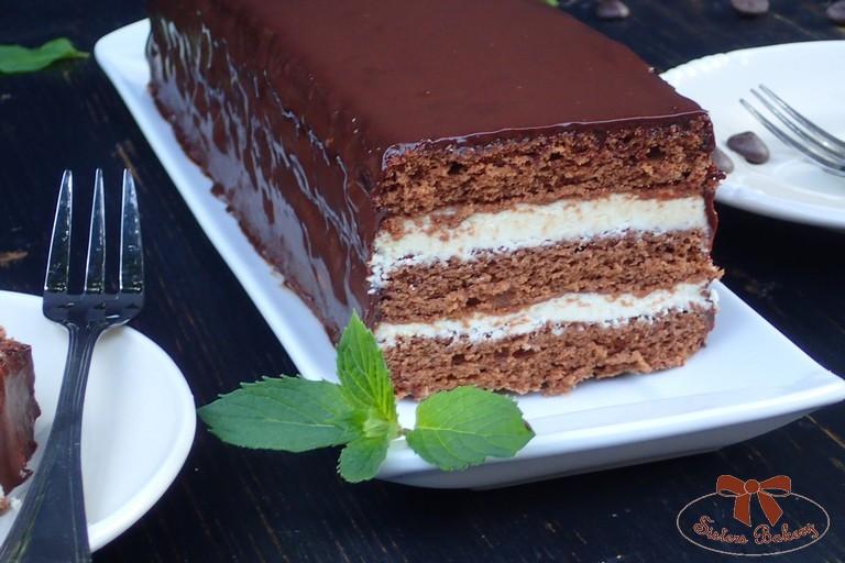 Čokoládové rezy s mätovou plnkou