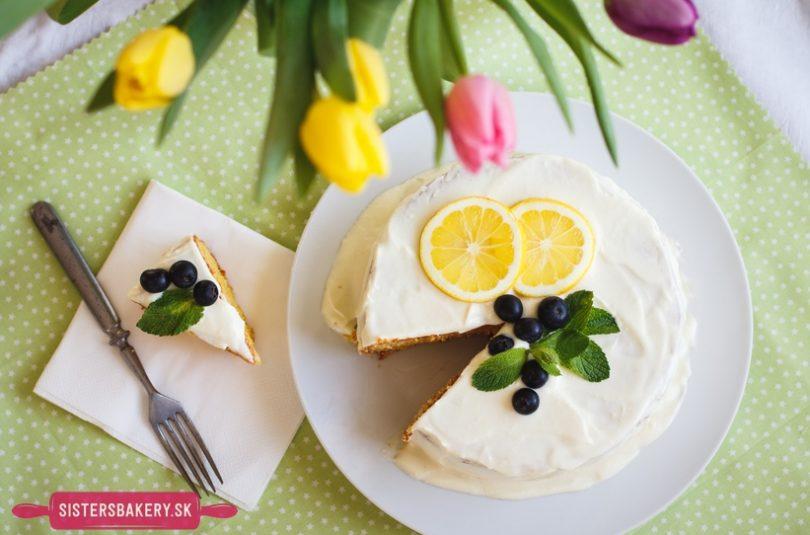 Citrónová torta s krémom z bielej čokolády