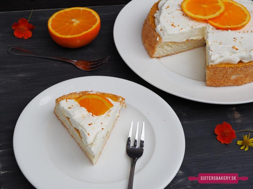 anjelská torta s pomarančovou šľahačkou