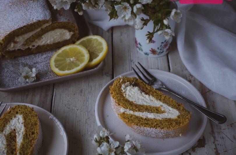 Mandľová roláda s citrónovo-tvarohovou plnkou