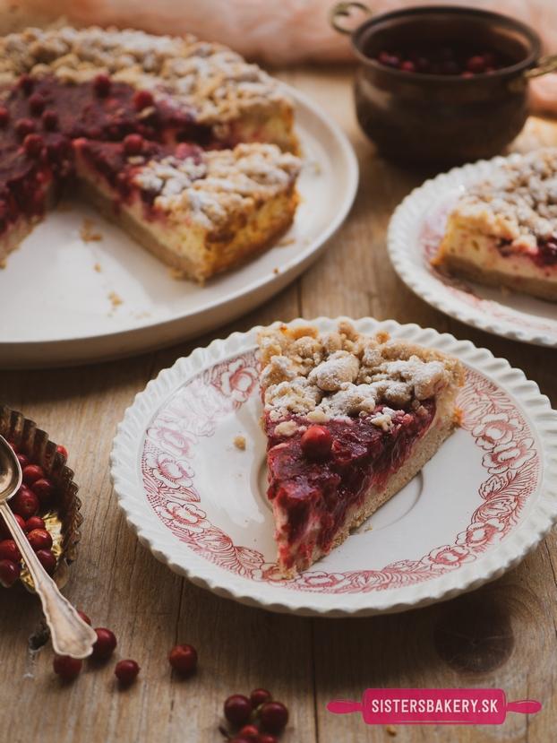 brusnicový tvarohový koláč